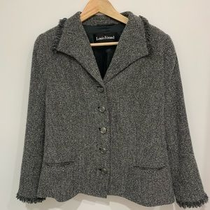 Chanel style Louis Feraud Gray Tweed Skirt Suit